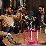 KKTECT Pipa de agua, 2 tubos, juego de shisha para fiesta fumador, con forma única y mando a distancia, luces LED multicolor, fácil de montar y limpiar