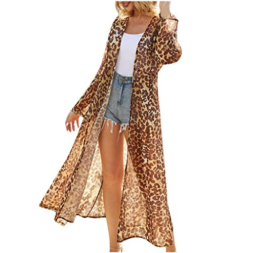 Fantastic Prices! DealinM Women's Leopard Print Chiffon Cardigan Summer Beach Flowy Kimono Cardigan ...