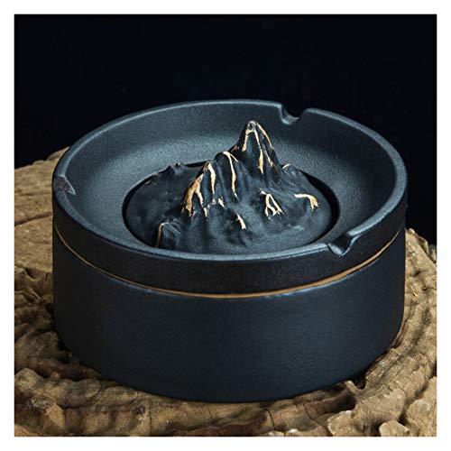 zunruishop Cerámico Cenicero de cerámica con lidequipado con un cenicero de 5 Pulgadas en Forma de montaña de 5 Pulgadas cenicero (Negro/Verde) Cenicero (Color : Black)