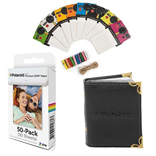 Polaroid 2x3 pulgadas papel fotográfico ZINK premium (50 hojas) + Coloridos marcos de fotos vintage + Álbum de fotos (compatible con Polaroid Snap, Touch, Zip, Z2300)