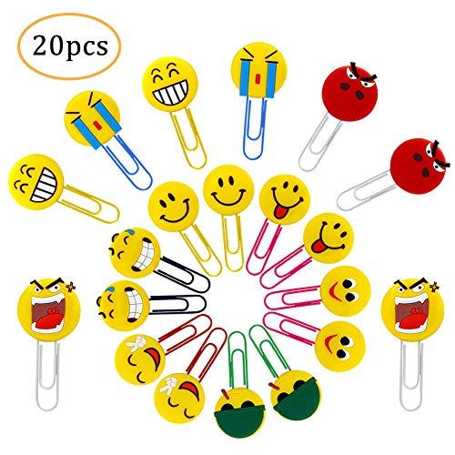 20PCS Nette Emoji Lesezeichen, lustige Paperclip Lesezeichen, Neuheit Emoticon Buch Marker für Kinder, Mädchen, Jungen, Schüler
