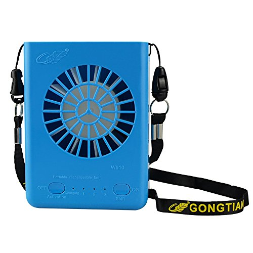 Globalstore Personal Necklace Fan, Small USB Fan Portable Desk Battery Operated 3 Speeds for Office Home Table(18650 Battery Included) (Blue)