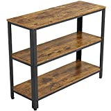 YAHEETECH Industrial Console Table,Entryway Side Table with 3 Tier Storage Shelves, Hall...