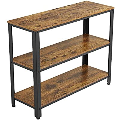 YAHEETECH Industrial Console Table,Entryway Side Table with 3 Tier Storage Shelves, Hallway Side Table and Sideboard, Living Room, Kitchen, Corridor, Narrow, Vintage Rustic Brown - Easy To Assemble: the industrial console table comes flat packed with detailed instructions for quick and easy assembly Multifunctional: the entryway table can be used as an end table beside your sofa, a console table, an entryway table or even as a space-saving desk Spacious: console table features 3 storage shelves that expand space, used for storing and organizing your books, remote controls, magazines, laptop, water bottle and snacks, making your stuff neat and tidy - living-room-furniture, living-room, console-tables - 51INlUwm3oL. SS400  -