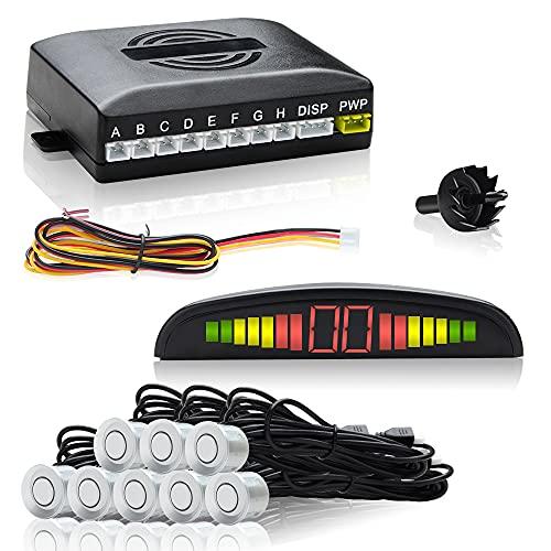 Latemeuk Einparkhilfe Rückfahrwarner 8 Sensoren 4 vorne 4 hinten Led Display Silber Auto Rückfahrwarner