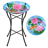 CHRISTOW Bird Bath Glass With Stand, Garden Gift, Outdoor Patio Decoration, Hand Painted, UV Resistant, (Non...
