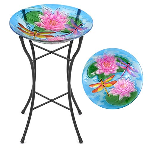 CHRISTOW Glass Bird Bath For Garden Patio With Metal Stand Hand Painted Dragonfly