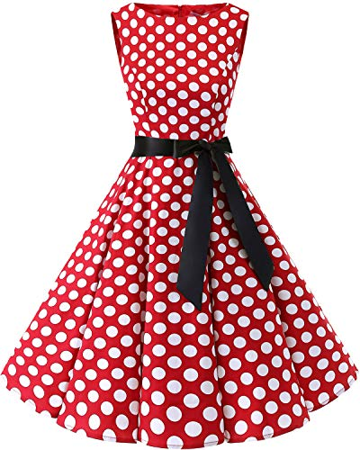 Bbonlinedress 50s Vestidos Vintage Retro Rockabilly Clásico Red White Big Dot L