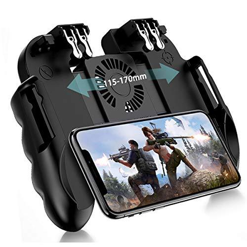 DLseego Mobile Game Controller for PUBG,6 Finger Trigger L2R2 zielender Schießauslöser Gamepad mit Lüfter für Battle Royale/Knives Out für iOS und Android Phone