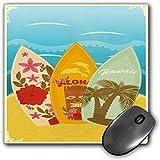 mouse pad da gioco funzionale tiki bar decor tappetino per mouse desktop spesso e impermeabile tavole da surf hawaiian beach sulla sabbia esotici vacanze estive sport vintage style,multicolor, base in