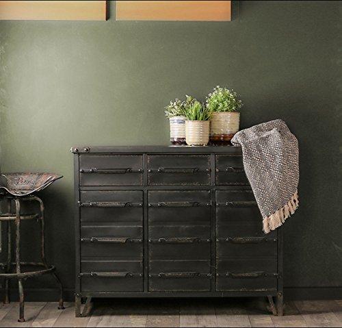 Aparador de estilo industrial Retro de Whaleycorn negro vintage de metal hierro cómoda de cajones armario de almacenamiento armario