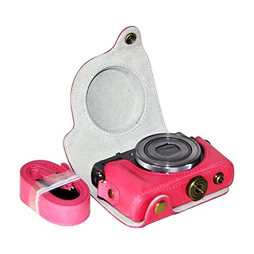 First2savvv XJPT-G9X-02 Pink full body Precise Fit PU leather digital camera case bag cover with should strap for Canon PowerShot G9X G9 X