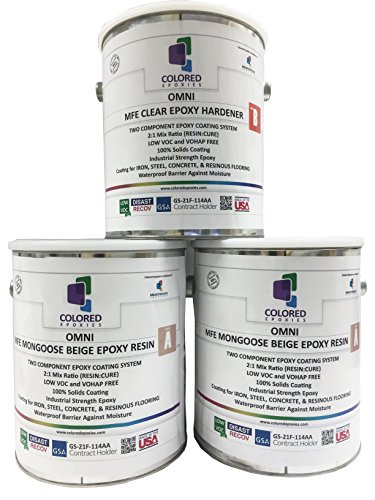 Colored Epoxies 10022 Light Beige Epoxy Resin Coating Made with Beautiful and Vibrant Pigments, 100% Solids, for Garage Floors, Basements, Concrete and Plywood. 3 Gallon Kit