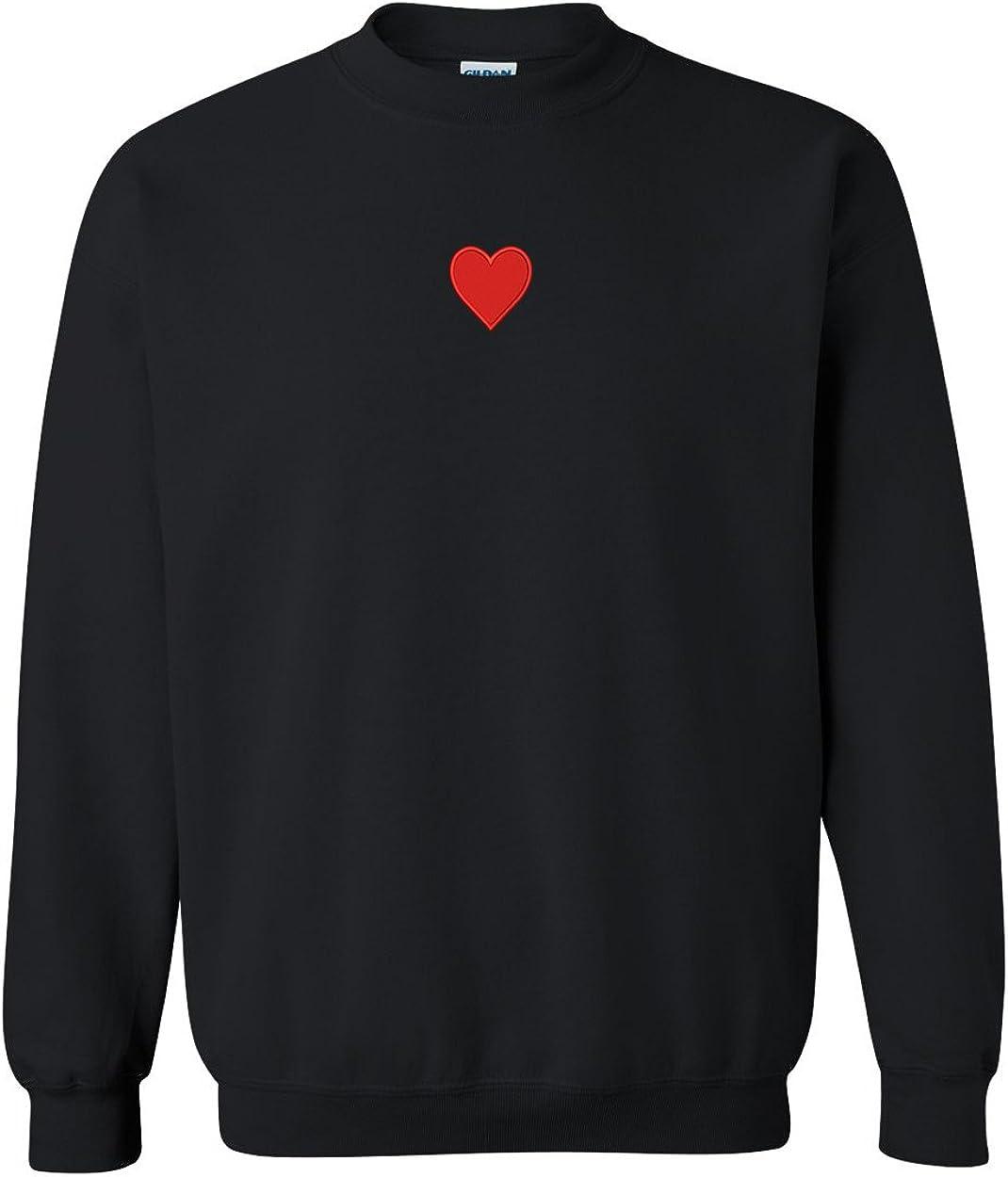 Trendy Apparel Shop Emoticon Heart Embroidered Crewneck Sweatshirt