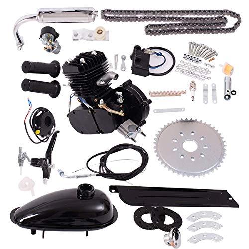 Goplus Bicycle Motor Kit 80cc 2-Stroke Bike Gasoline Motorized Gas Engine Bike Motor Kit (Black)