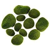 Musgo Artificial Rocas,12 piezas Varios Tamaño Decorativas Piedras Artificiales para Arreglos Florales/Jardines/Terrarios de hada/Plantas Decoración