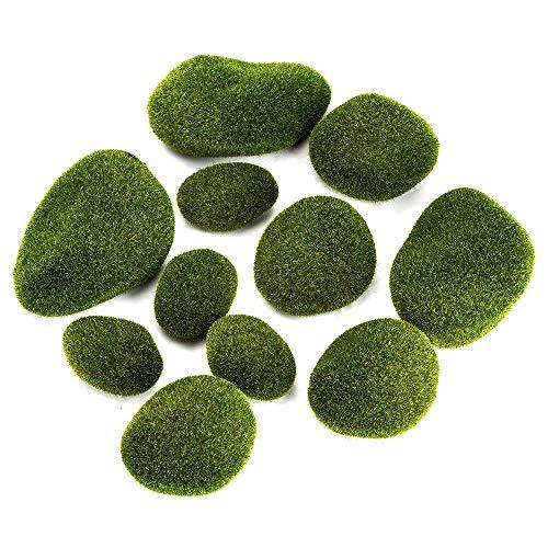 Aipaide 12 Stück Künstliche moossteine,Grüne Moosbälle,Grünpflanze Dekoration für Feengarten,Vasenfülle,Terrarien und Handwerk,3 Größe
