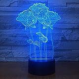 WxzXyubo Regalo de vacaciones del juguete de los niños de la flor LED color de rosa de la luz de la noche 3D
