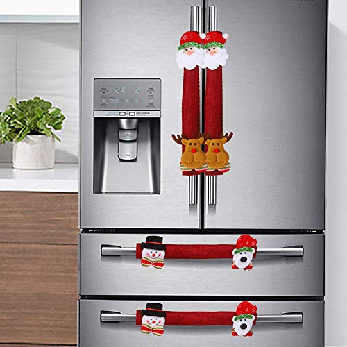 Supzone Christmas Refrigerator Handle Covers Set of 4 Kitchen Appliance Xmas Red Linen Decor Santa Snowman Elk Fridge Microwave Oven Dishwasher Door Handle Cover Protector Home Christmas Decorative
