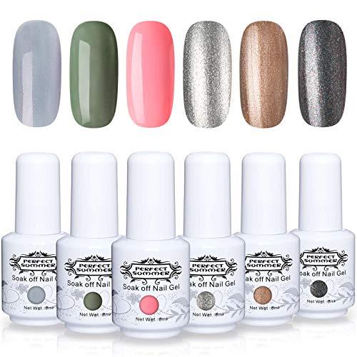 Perfect Summer Gel Nail Polish - 6 Colors Gel Nail Varnish Long Lasted Soak Off UV LED Manicure Home Gel Manicure System 8ML 107