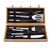 6 Stück BBQ Grillwerkzeuge Set, Edelstahl Holzgriff, Grill, Grill, Grillzubehör, Grillgerät mit Spachtel, Zangen, Grillgabel, Messer und Lebensmittel