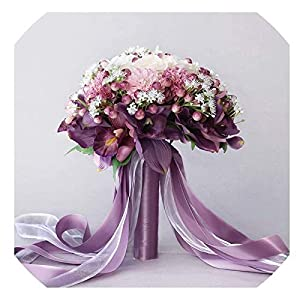 Flowers Artificial for Decoration Wedding Flowers, Bridal Bouquet Artificial 3Pc Set Silk Wedding Bouquet Photograph Artificial Hydrangea Iris Rose Wedding Flowers , flores Artificiales Para Decoracio