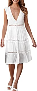Women's Dresses - Summer Hollow Out Lace Patchwork Casual Party Dress Swing A line Midi Dress
