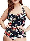 Women's Retro Floral Halter Vintage Ruched Fold Swimsuit Swimwear ,Navy,US XL/Asian 4XL