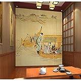 Mural PapelPintado Etiqueta De La Pared Tuya Art Mural Estilo Japonés Mural Hermosa Niña Imagen Salón Pasillo Telón De Fondo Decoración De La Pared Para Fondos De Pantalla, 300 * 210 Cm