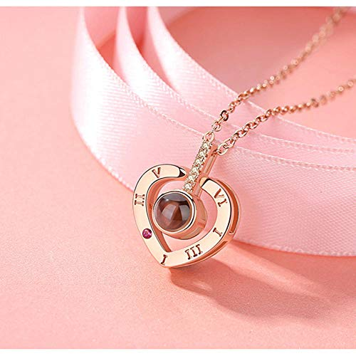 Love Heart Romantic Love Memory Collar de Bodas Oro Rosa y Plata 100 Idiomas Te Amo Collar Colgante de proyección-corazón de Oro Rosa