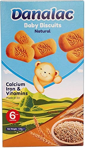 Danalac Natural Baby Biscuits 120g (Pack of 1) Finger Food Snack for Toddlers 6+ Months with Calcium, Iron and Vitamins