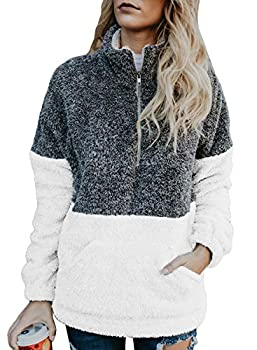 Aleumdr Womens Winter Fleece Color Block Sweatshirt Tops Cozy Loose Zip High Neck Pullover Outerwear with Pockets White Medium 8 10