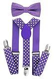 axy Hochwertige Kinder Hosenträger-Y Form mit Fliege- 3 Clips EXTRA STARK-Uni Farben (Lila-Weiße Punkte)