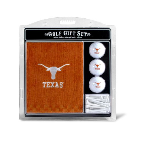 Team Golf NCAA Texas Longhorns Gift Set Embroidered Golf Towel, 3 Golf Balls, and 14 Golf Tees 2-3/4