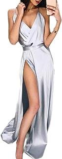 Spokty Womens V - Cuello tamaño de Pure Color Slip Sexy Split Vestido de Coctel