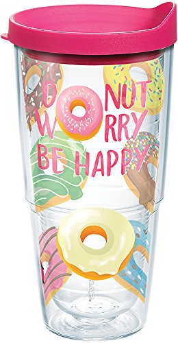 Tervis Donut Worry Be Happy Gobelet avec couvercle Fuchsia 680,4 gram clair