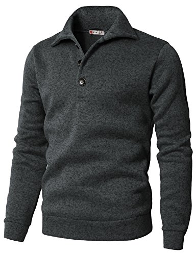 H2H Men's Slim Fit Turtleneck Basic Knit Sweater with Buttons Charcoal US L/Asia XL (CMTTL091)