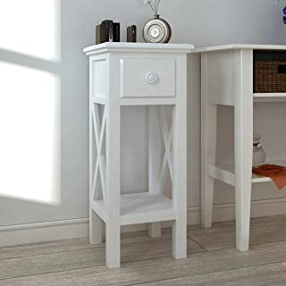 vidaXL Side Table with Drawer White Bedside Telephone Stand Home Furniture