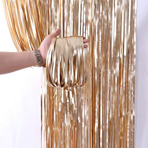 LIHAO 2 Stück Lametta Vorhänge Silber Fringe Tinsel Fransen Vorhang Schimmer Glitzervorhang Metall Folie Vorhang Girlande Party Deko für Gerburtstag Party Hochzeit Weihnachten(Champagnerfarbe)