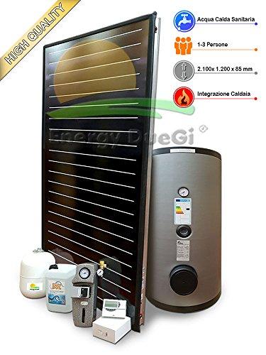 Kit impianto solare termico ad elevate prestazioni per produzione Acqua Calda Sanitaria, 1-3 persone, bollitore 200 litri, FKF240 (1, Impianto con bollitore doppiaserpentina)