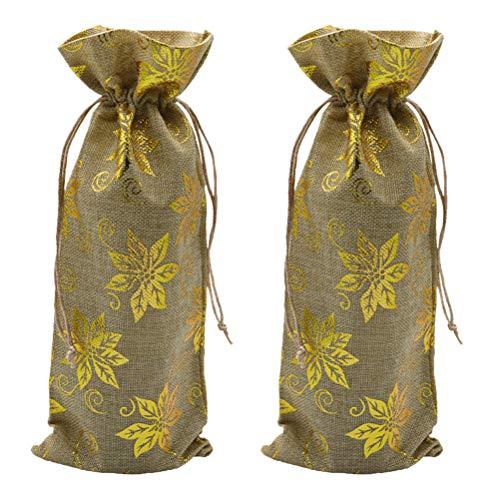 ABOOFAN 2pcs Bolsas de Vino Bolsas de Regalo Cubierta de Botella de Vino Envoltura de Bolsas Reutilizables con cordón Apoyos de Navidad
