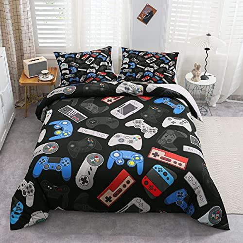 Tbrand Teenager Gamepad Bettbezug Modern Gamer Schmusetuch Bezug Einzelgröße für Kinder Jungen Kinder Videospiel Bettwäsche Set Spieler Gaming Joystick Tagesdecke Bezug atmungsaktiv dekorativer Raum