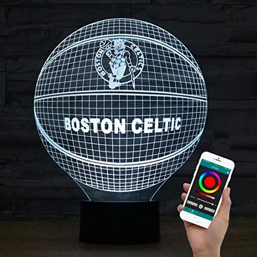 Olanstar Luz nocturna 3D con ilusión óptica de Boston Celtic Baloncesto Decoración juguete lámpara teléfono mando a distancia lámpara de mesa