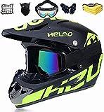 Casco de protección integral, casco de moto, casco de motocross, casco de bicicleta de montaña, casco infantil para descenso, enduro, BMX, ATV, para hombres y mujeres (S)