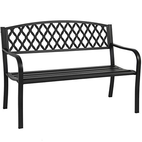 Best Choice Products 50in Steel Garden Bench for Outdoor, Yard, Porch, Patio Furniture Chair w/Cross Design Backrest