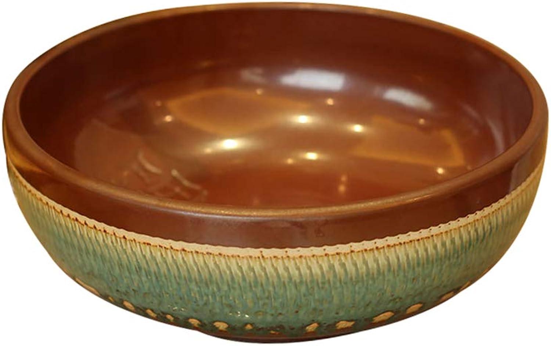 Bathroom Counter Basin, European Ceramic Carved Wash Basin - Round Art Sink - Household Wash Basin