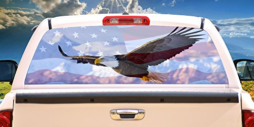 """SignMission Freedom Flyer Rear Window Graphic Truck View Thru Vinyl Decal Back, 22"""" X 65"""""""