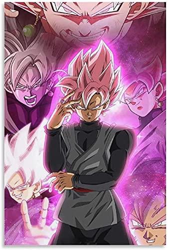 REGF Imprimir En Lienzo 60x90cm Sin Marco Póster Negro de Goku SSJ Omni God, Pintura Decorativa para Sala de Estar y Dormitorio