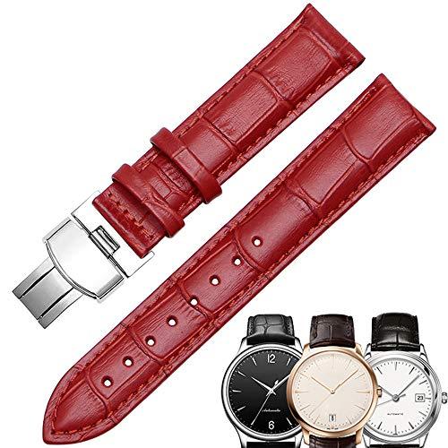 KATLY Leder Uhrenarmbänder Schnellspanner Faltschließe, Kalbsleder Armband Ersatz Band Uhrenarmband (12/13/14/15/16/17/18/19/20mm),red-silver-17mm