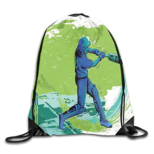 Sports Duvet Cover Set, Cricket Player Pitching Win Game Champion Team Paintbrush Effect,Navy Blue Turquoise Lime Green_2Drawstring Shoulder Backpack